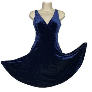 VTG Betsey Johnson crushed blue velvet dress